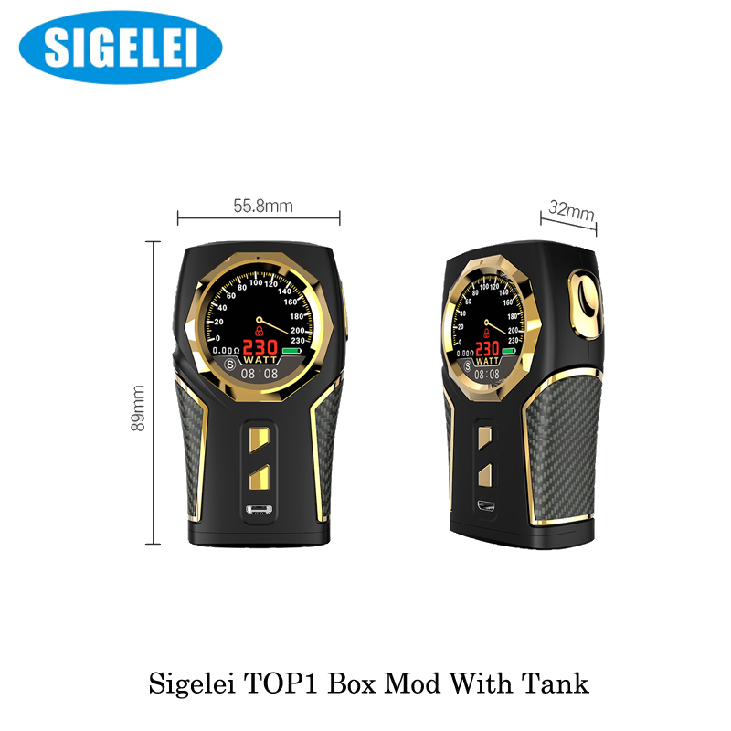 electronic cigarette Sigelei Vape Top1 Sigelei Top 1 230W Box Mod With P9 Sub Ohm Tank 2ML/RDA Kit By 18650 Battery Vaporizer