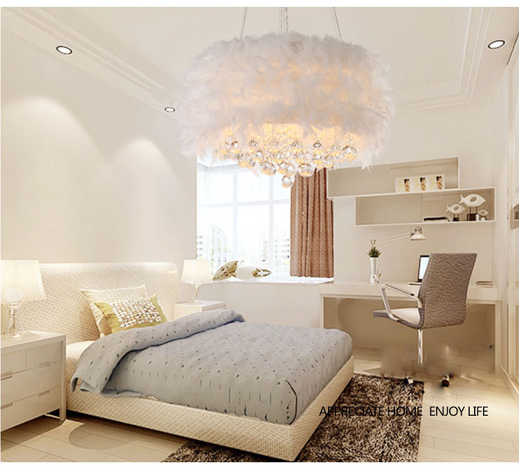 Crystal Chandelier Light Fixture Bedroom Feather Lamp Pendant Lighting Interior Modern