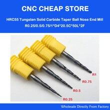4 adet/grup R0.25 & 0.5 & 0.75 & 1.0mm 4mm Shank 50L HRC55 Tungsten katı karbür Konik Topu burun End Mills ve koni CNC freze kesicisi