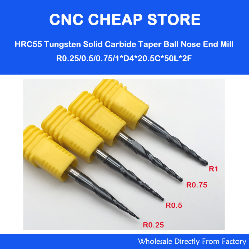 4PCS / Lot R0.25 și 0.5 și 0.75 și 1.0mm 4mm Cernel 50L HRC55 Carbură solidă de tungsten Sferă cu bilă Nose Mills End and Cone Freză CNC