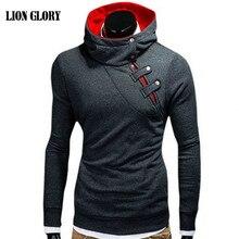 font b Men s b font New Winter Leisure Personality Oblique Zipper Hooded Sweatshirts Coat