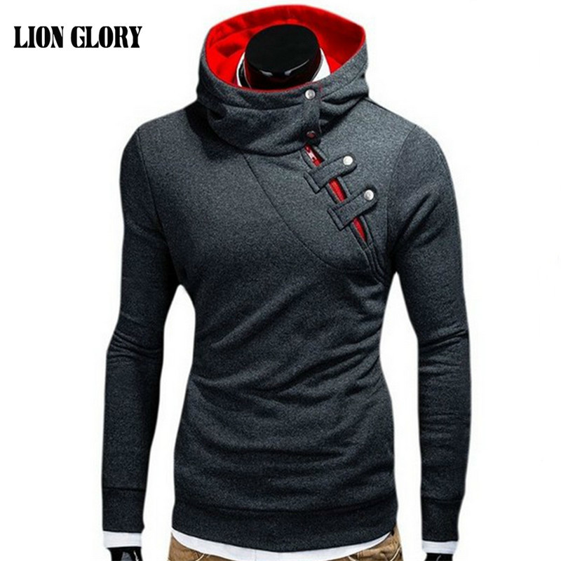 Men's New Winter Leisure Personality Oblique Zipper Hooded ...