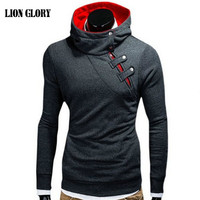 Men's New Winter Leisure Personality Oblique Zipper Hooded Sweatshirts Coat Solid Color Long sleeved Shirt Men's Hoodie MY288