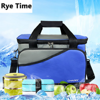 Exclusive Customized Large Volume Brown Thermal Cooler Bag w/ice pack 2 layers Picnic storage bag w/ aluminum foil 19L