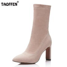 TAOFFEN Women'S Elastic Sock Boots Ladies Pointed Toe High Heels Mid Calf Boots Women Fashion Winter Warm Botas Size 33-43