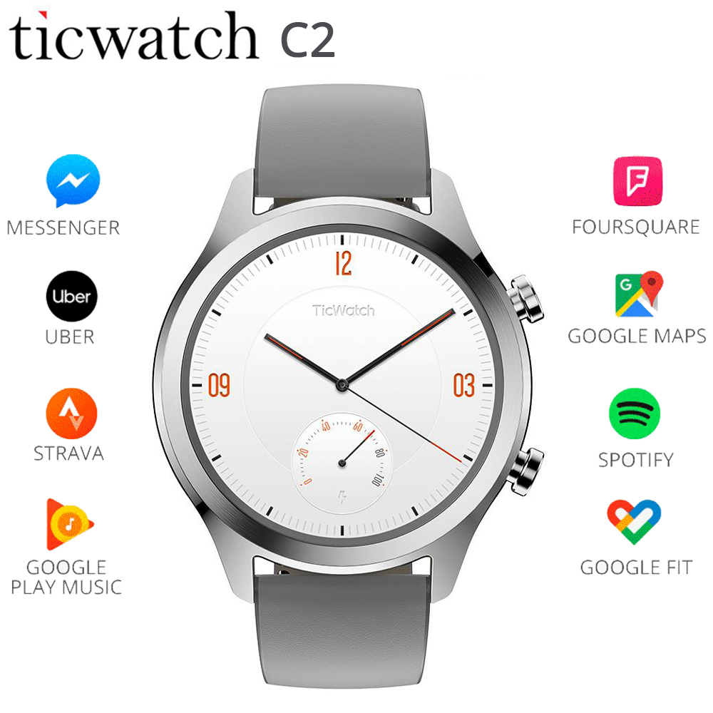 D'origine Ticwatch C2 Smartwatch WIFI GPS Google Payer Wear OS par Google Strava IP68 1.3 Dynamique Coeur Taux À Long veille montre pour homme