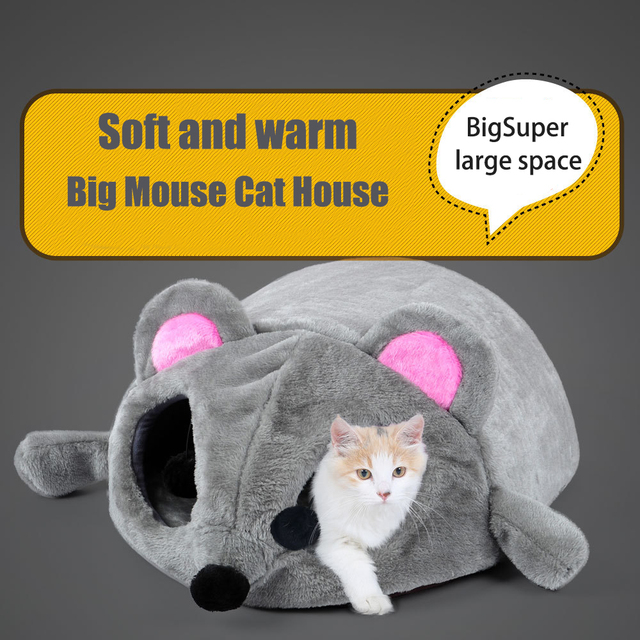 Grey Mouse Shape Bed For Small Cats with Removable Cushion