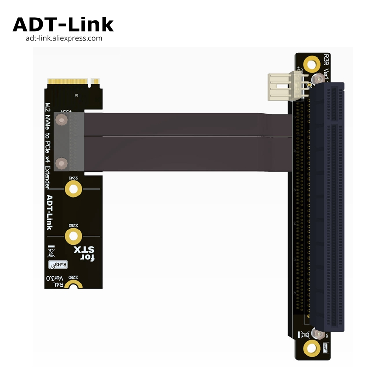 <font><b>M.2</b></font> NVMe M Key to <font><b>PCIe</b></font> <font><b>x4</b></font> x16 Extender <font><b>Adapter</b></font> 90 Degree Angled For STX Motherboard Graphics Card Extension adt-link image