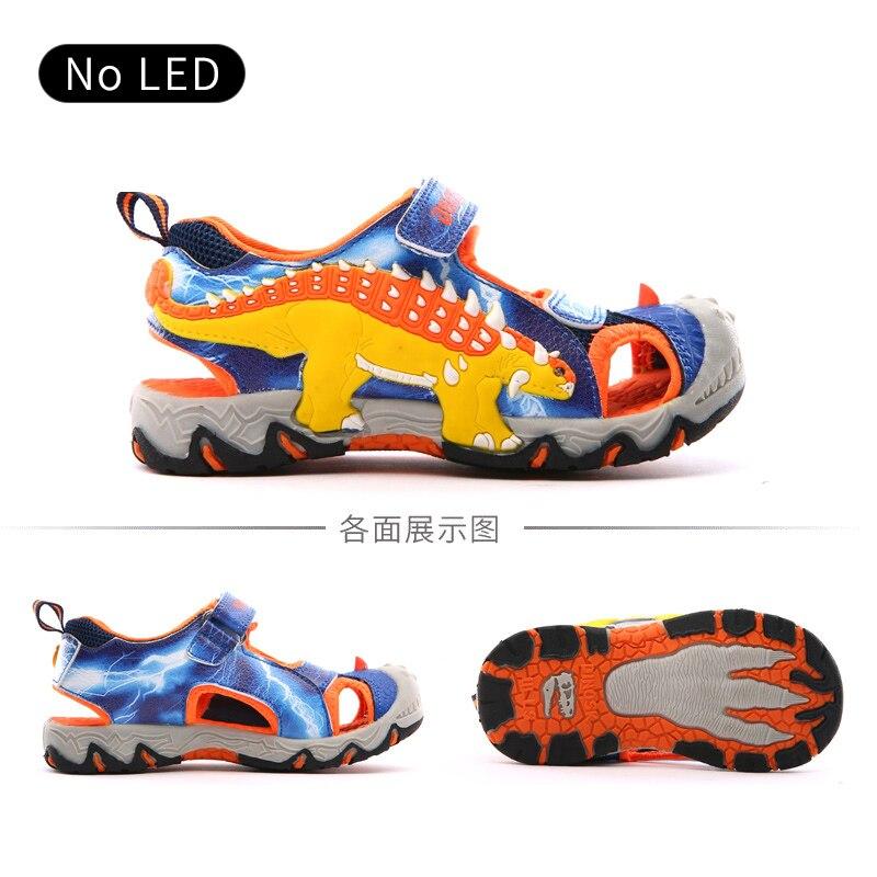 DINOSKULLS Sandals Boys Summer 3D Dinosaur Children's Beach Sport Shoes Leather Anti-slip Kids Closed Toe Sandals Eur #27-#34