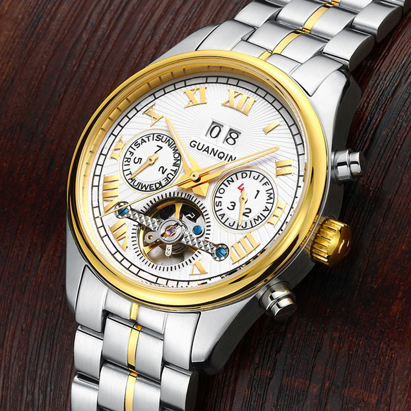 GUANQIN Mens Watches Top Brand Luxury Automatic Mechanical Tourbillon Watch Fashion Luminous Clock Stainless Steel Wristwatch mens watches top brand luxury automatic mechanical tourbillon watch men luminous stainless steel wristwatch montre homme