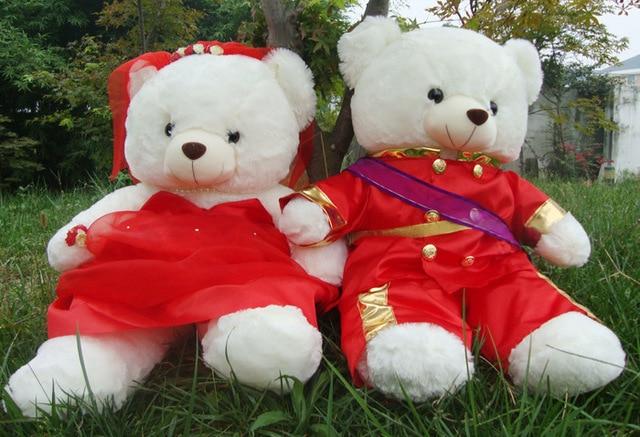 Stuffed Toy Military Uniform Bridegroom Bride Bear Wedding Bears