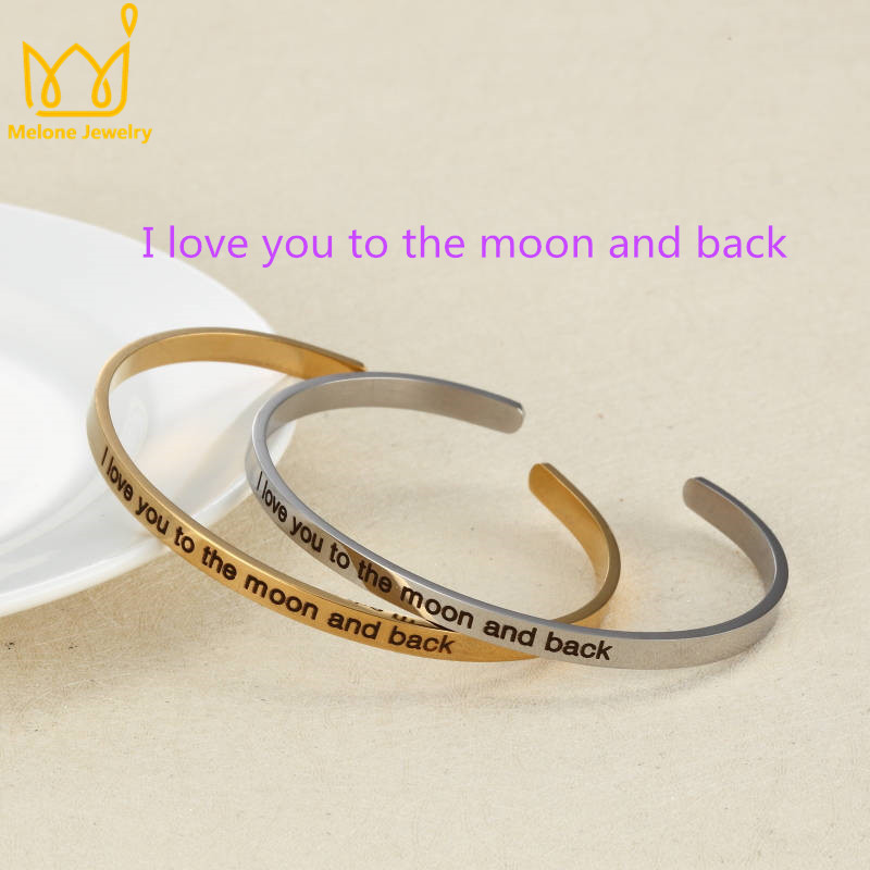 I love you to the moon and bac Positive Inspirational Bracelet Personalized Jewelry Engraved Name Custom Bracelet Bangle for Men