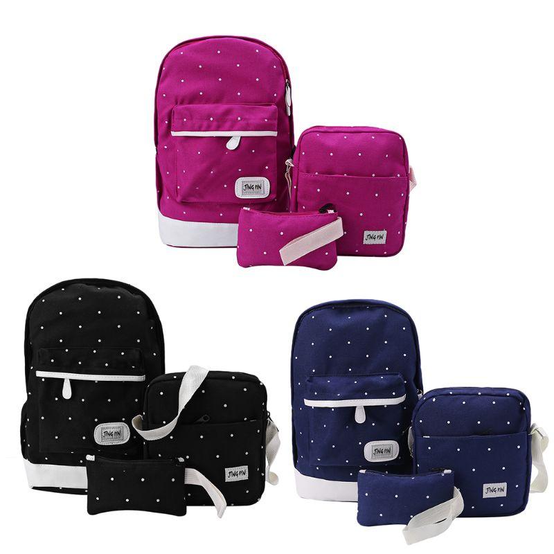 School Rucksack Backpack-Set Bookbag Travel-Bags Canvas Unisex 3PCS