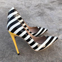 2019 Fashion free shipping white black Patent Leather Poined Toe Stiletto Heel high heel shoe pump HIGH-HEELED SHOES dress shoes