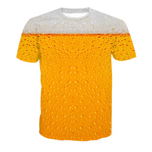 Men beer bubble print t shirt novelty short sleeve Tee Top cool summer full cup beer 3D print Causal T-shirt plus size 5XL R2810