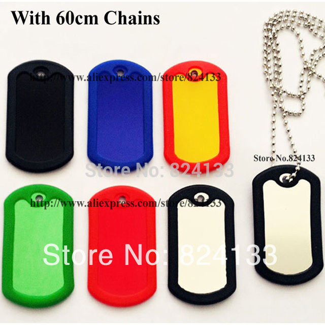 100pcslot Mixed Colors Military Dog Tags For Menblank Dog Tags