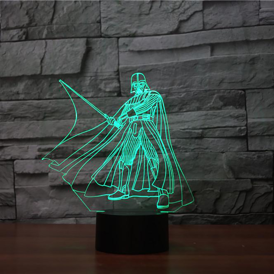 3D Visual Black Warrior Modelling Table Lamp LED Star Wars Night Light For Kids Touch Button USB Baby Sleep Lighting Home Decor