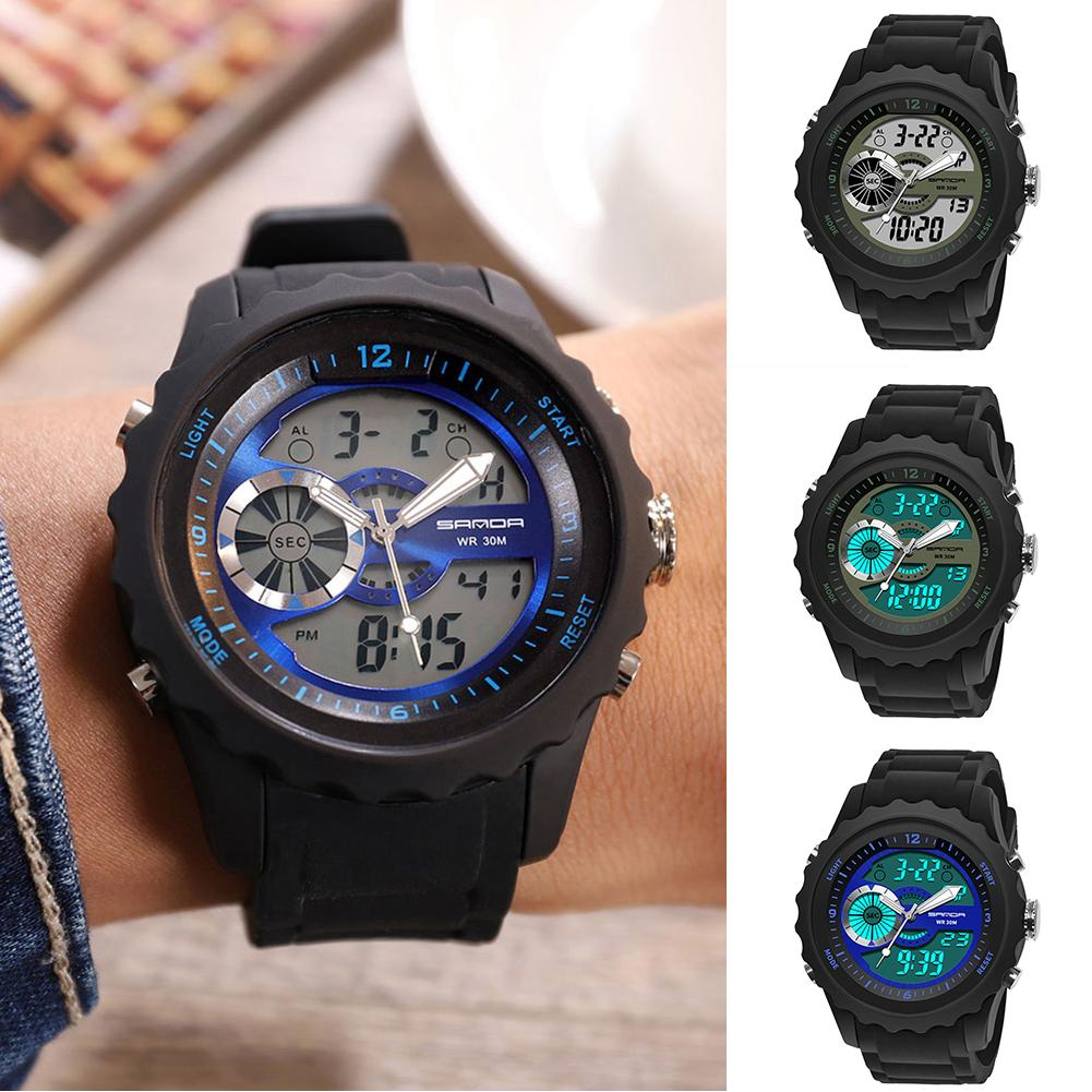 Analog-Watch Electronic-Movement-Alarm Dual-Display Digital Silicone New Band Gift Luminous-Date