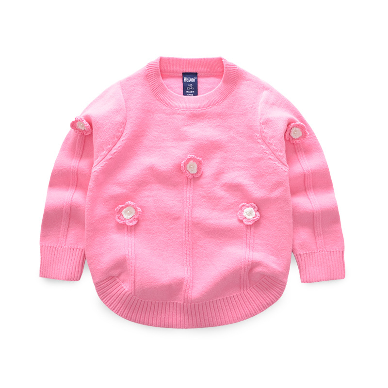 Knit Flower Girl Sweater O-Neck Cotton Kids Pullover Sweater Crochet Flower Kids Clothe Spring Autumn Fashion Baby Girl Clothing