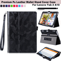 For Lenovo Tab 2 A10-30 (TB2-X30F) Pu Leather Stand Folio Wallet Case w/ Wrist Wrap, Elastic Hand Strap, Multi-Angle, Card Holde