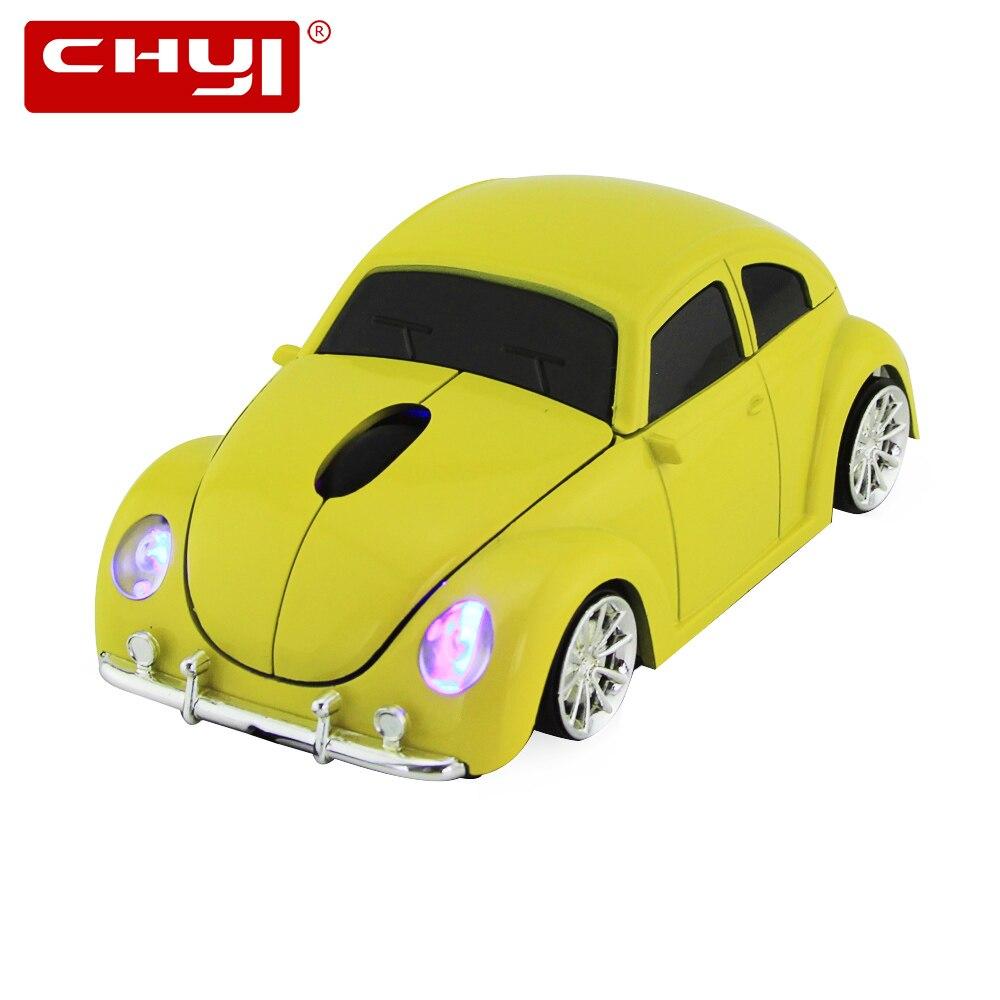 CHYI Sem Fio Rato Do Computador Ratos Forma Legal Do Carro VW Beetle 1600 DPI Optical Gaming Mause Com Receptor USB Para PC Laptop área de trabalho