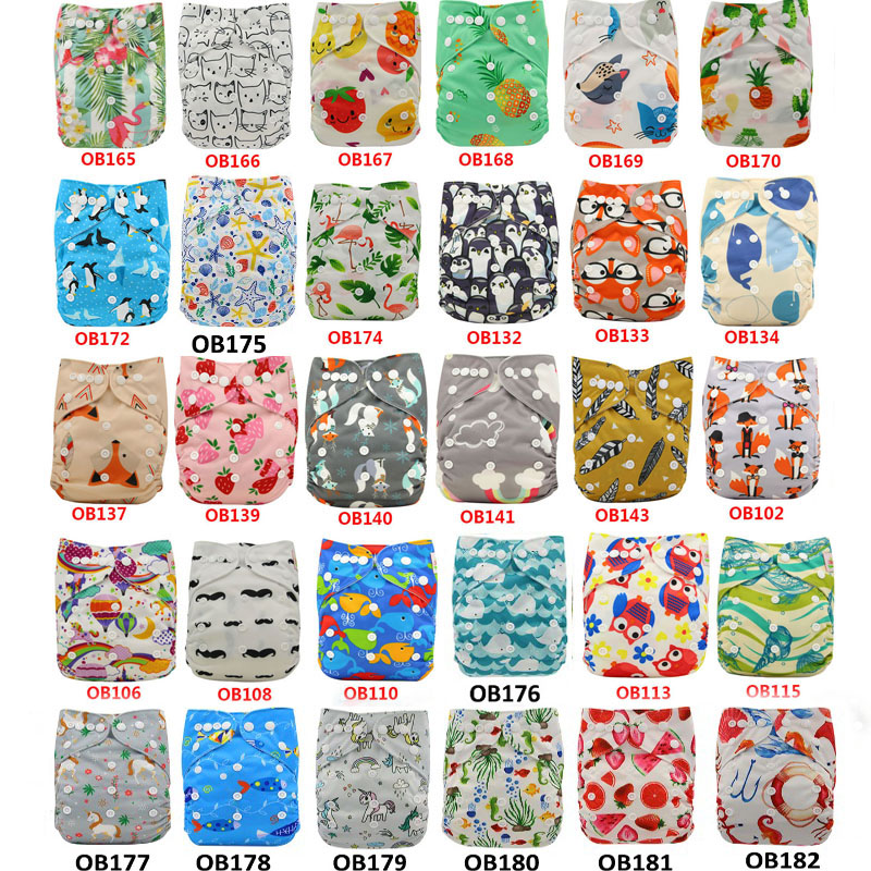 30PCS Ohbabyka Cloth Diaper Cover Reusable Baby Nappy Character Pattern Infant Baby Waterproof Pocket Diaper Nappies 0-3years