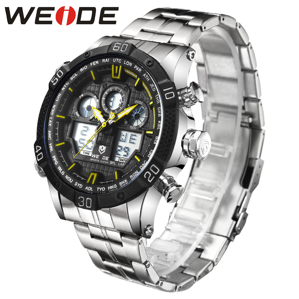 WEIDE Quartz Sports Wrist Watch Casual Genuine Men Watches Brand Luxury Men watch stainless steel date digital led Analog watch top brand luxury digital led analog date alarm stainless steel white dial wrist shark sport watch quartz men for gift sh004