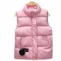 2019 Otoño Invierno mujeres chaleco mandarín collar sin mangas abrigo corto mujeres chaqueta chaleco femenino de talla grande chalecos para mujer