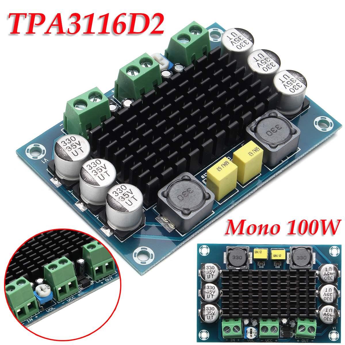 1PC XH-M542 DC12-26V 100W Subwoofer Mono Digital Power Amplifier Board TPA3116D2 Digital Audio Amplifiers NE5532