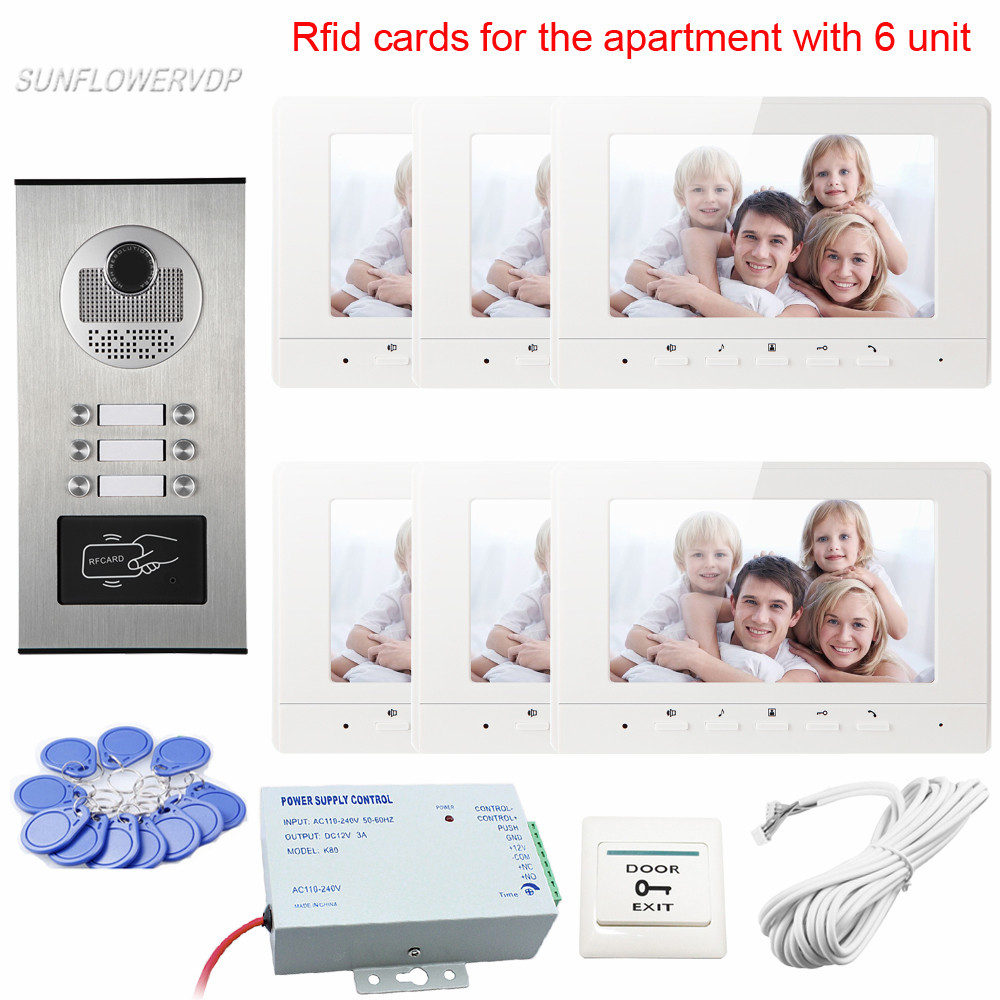Intercom Rfid Doorphones On The Front Door With 7inch Color 6 Monitors Video Intercom For Private House With 6 Different Units the house on cold hill