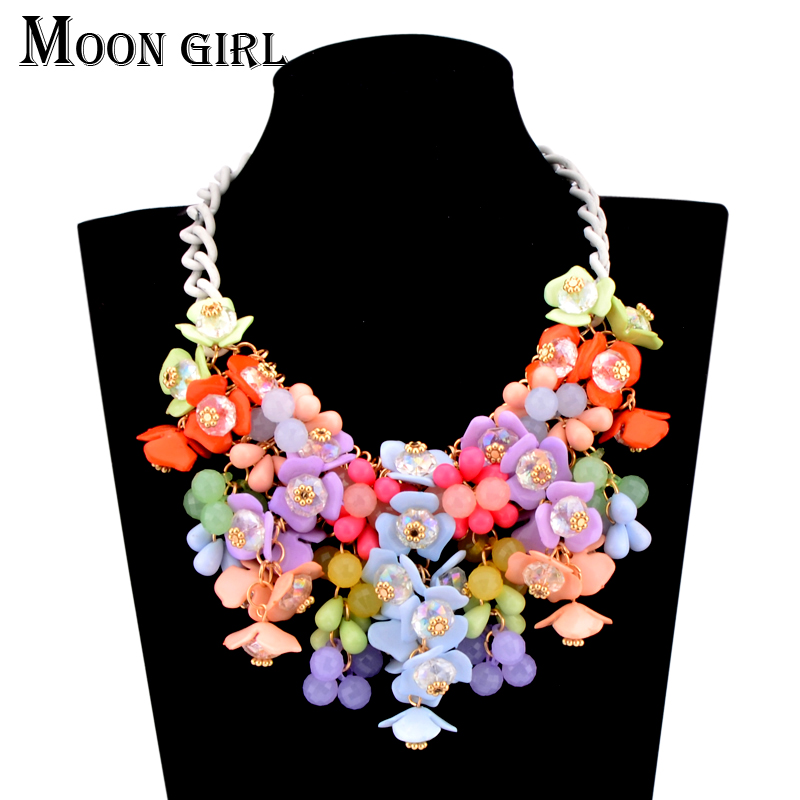 Big statement necklace aliexpress hot selling jewelry display 4 color Acrylic Beaded flower Necklace for women accessories