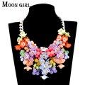 Collar de la declaración grande aliexpress venta caliente exhibición de la joyería 4 color Con Cuentas de Acrílico Collar de flores para las mujeres accesorios
