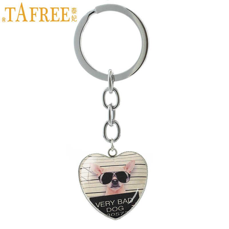 TAFREE dames mode pendentif porte-clés en métal porte-clés français nulldog carlin chien porte-clés souvenir cadeau bijoux HP871