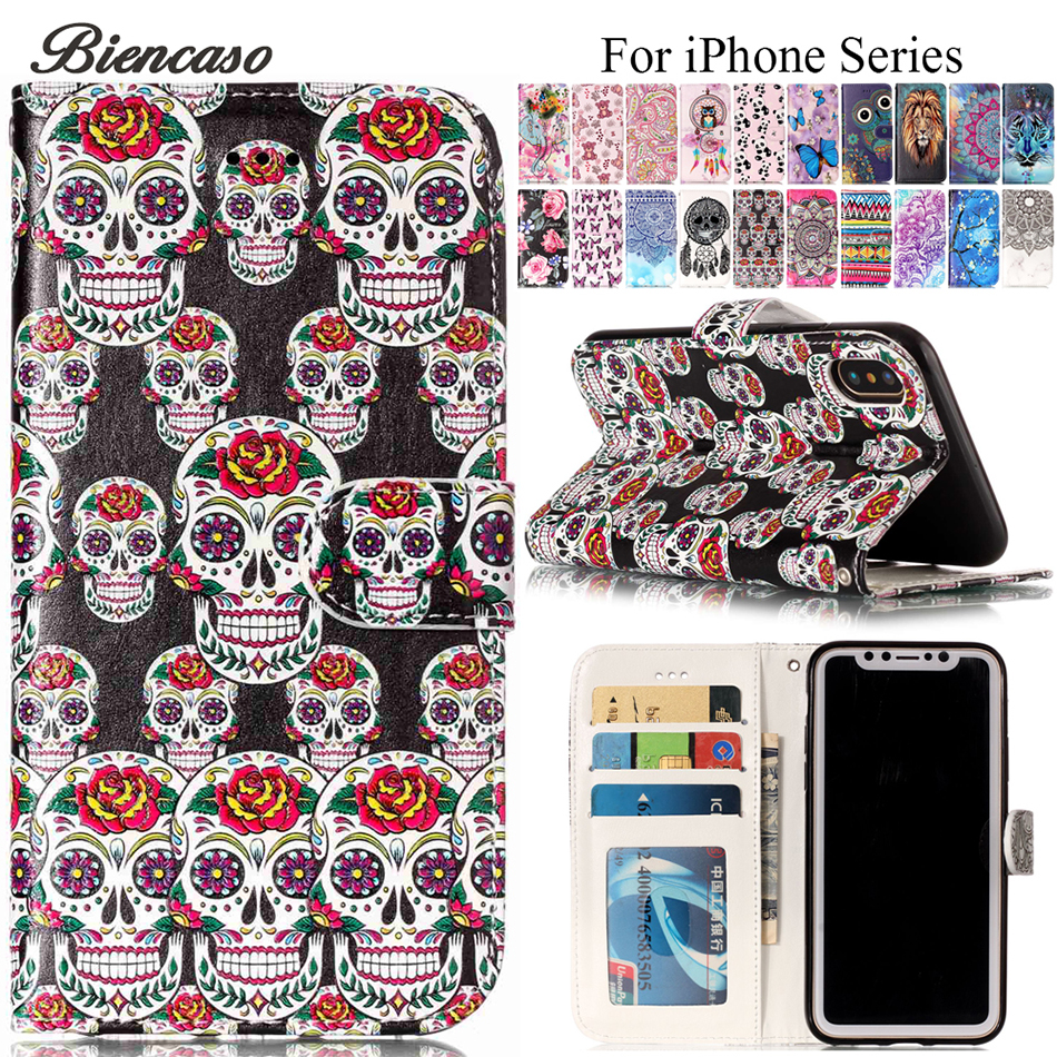 Leather Flip Stand Case for iPhone 6s 7 8 Plus X 5S SE Touch 5 6 Case Card Slot Holster Coque Cover for Samsung S8 S8+ Cases B05