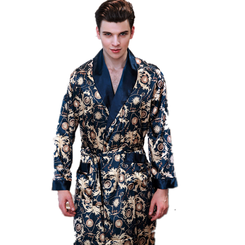 2019 Spring Luxury Silk Dressing Gown Man Satin Long Sleeve Bathrobe Kimono Home Clothes Sleep Bath Robe