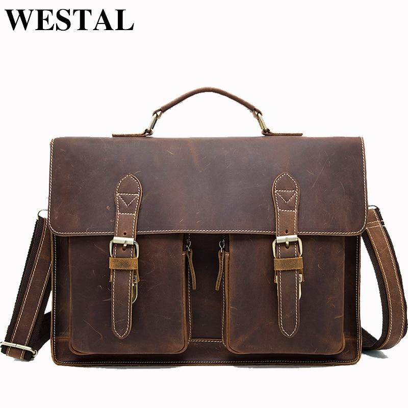 WESTAL Business Briefcases Bag Men for Lawyer Vintage Crazy Horse Leather Laptop Briefcases Bag 14inch Office