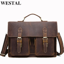 WESTAL Business Briefcases Bag Men for Lawyer Vintage Crazy Horse Leather Laptop Briefcases Bag 14inch Office/Document Bags Men(China)