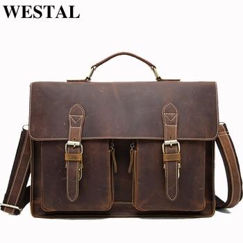 655525a40483 WESTAL Мужчины портфель мужская сумка натуральная кожа винтаж мужская сумка  через плечо мужские деловые сумки кожа сумка для документов мужск.