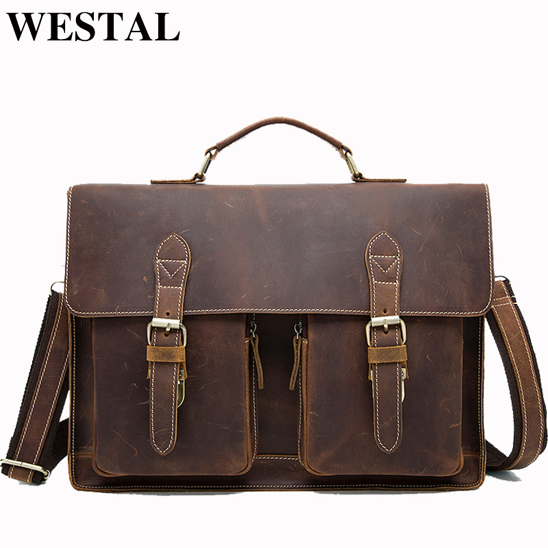WESTAL Vintage Crazy Horse Genuine Leather Bag lawyer Men's Briefcases Male Shoulder Laptop Bag for men document Totes bags 1081