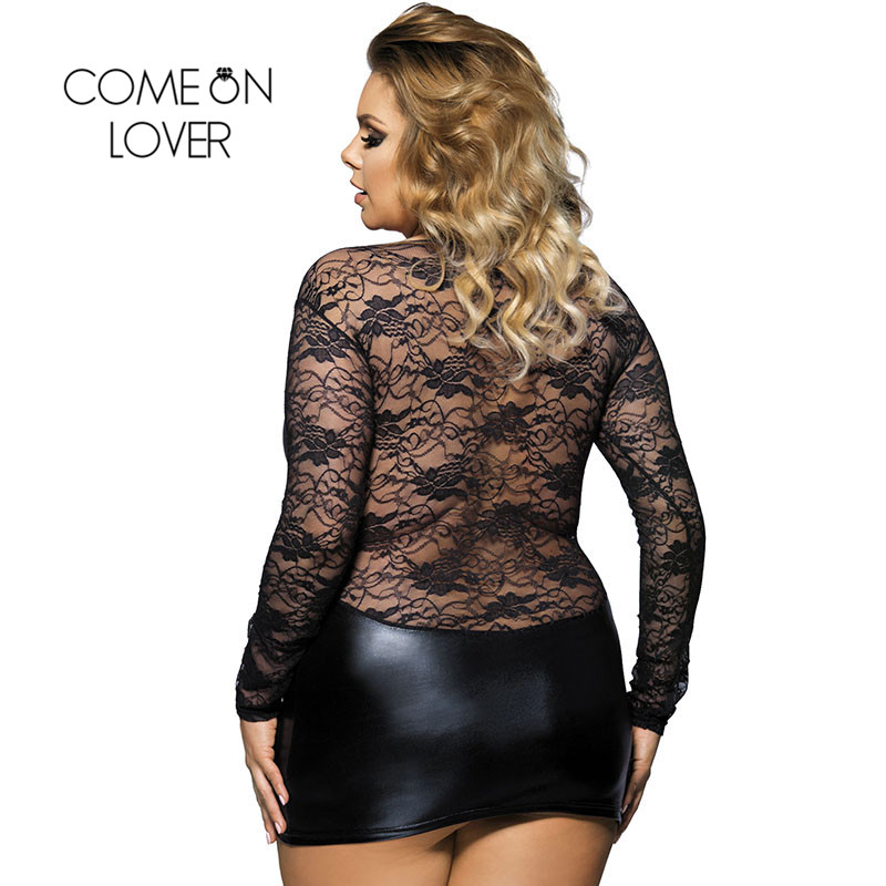 Comeonlover Sexi Costume Erotic Costume Mini Babydoll Dress Plus Size 6XL Black Faux Leather Babydolls Sexy Lingerie RI7393 1