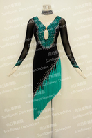 High Quality Latin dance dress tango salsa latin dance wear black color emerald with tassels fringe Custom make