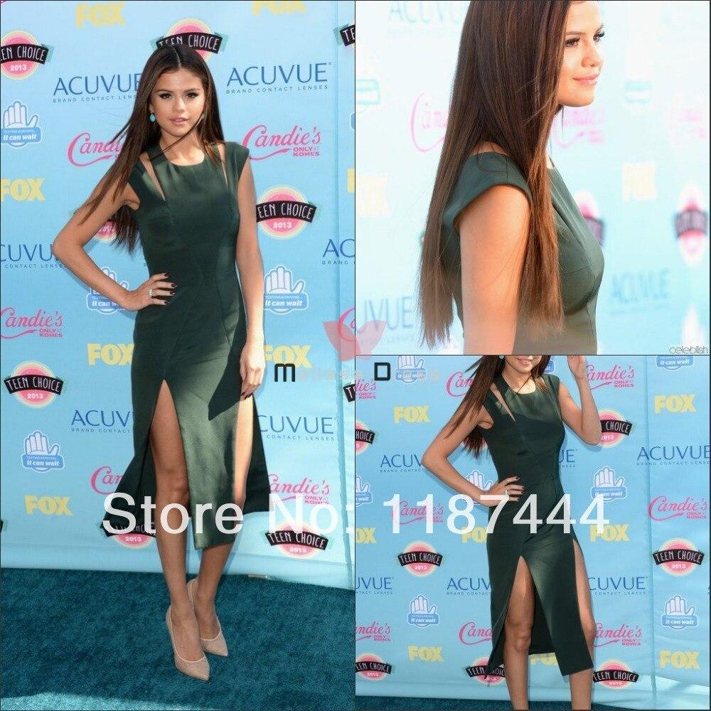 Selena Gomez Dark Green Cocktail Dress Teen Choice Awards 2013 Red ...