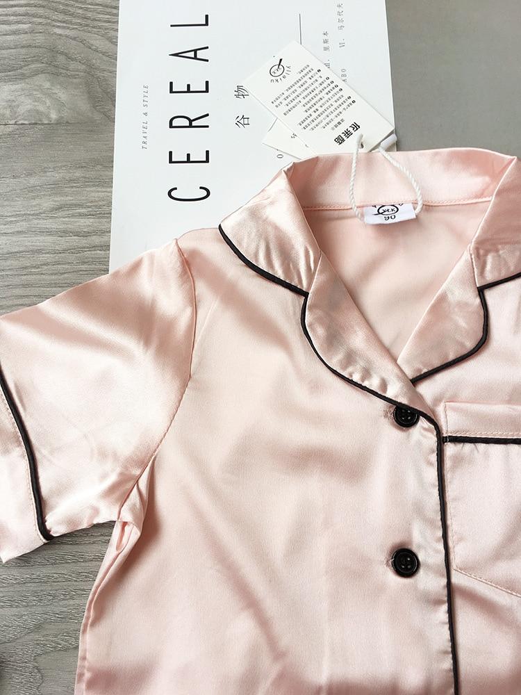 Summer Pajamas Suit Childrens Pajamas for girls Pijama Seti Trim Satin Cami kids Sleepwear Short Sleeve Nightwear 2PC Korea New