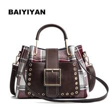 High Quality PU Leather Women Metal Top-handle Tote Bag Shoulder Bags Wool Plaid Handbag Large Capacity Messenger Bags недорого
