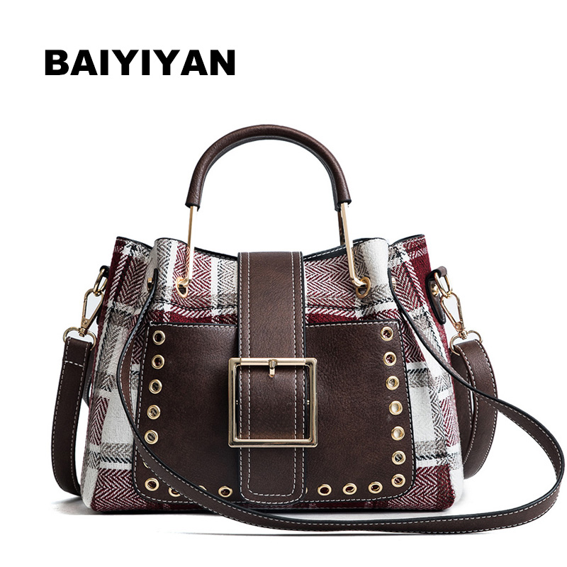 New Arrival High Quality PU Leather Women Bag Shoulder Bags Wool Plaid Handbag Large Capacity Metal Top-handle Tote Bag