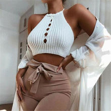Summer Women Camisoles 2019 New Solid Sexy Sleeveless Halter Short Knit Size S-L
