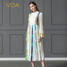 VOA Heavy Silk Pleated Dress Women Pearl Clasp Plus Size 5XL Slim Flare Long Sleeve White Jacquard Boho Casual Party Print A317