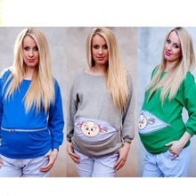 Funny Pregnant Women Long Sleeve Feeding Sweater Maternity Clothes Nursing  T-shirts Pregnancy Tee Sports 2302938781c9