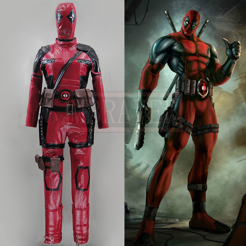 Deadpool costume Hot Movie superhero Red Leather Jumpsuit Deadpool cosplay costume adult custom made outfit costume