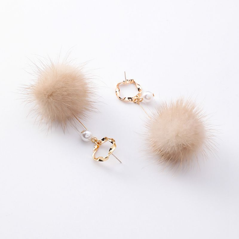 Round Pearl Feather Ball Earring Geometry Fashion Circle Long Fake Marten Hair Ear Accessories Winter Design Festival Gifts 2019 image